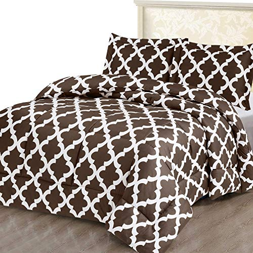 Utopia Bedding Printed Comforter Set (Queen/Full, Chocolate) with 2 Pillow Shams - Luxurious Brushed Microfiber - Down Alternative Comforter - Soft and Comfortable - Machine Washable