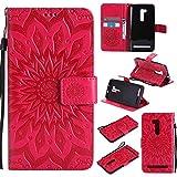 Guran® Custodia in Pelle per Asus ZenFone Go ZB551KL 5.5' Smartphone avere Carta Slot Supporto Protettiva Flip Case Cover-rosso