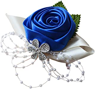 blue and white rose corsage