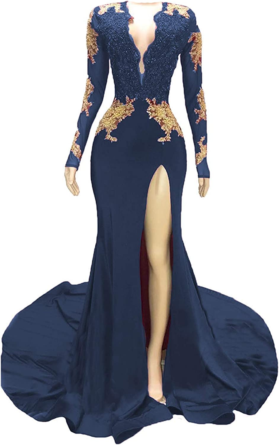 WZW Over item handling 2019 Mermaid Prom Dress Max 64% OFF Gold Lace Slit Sleeves s E Long Side