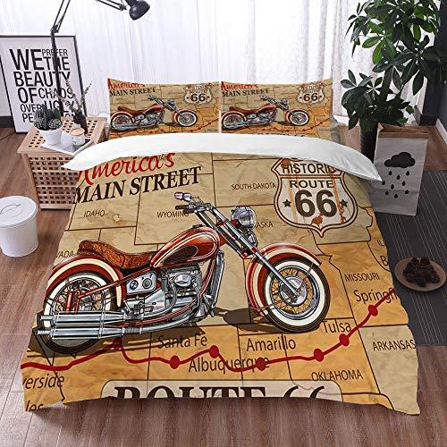 Bedsure Funda Nórdica,Cartel Vintage de la Ruta 66 de la Motocicleta,Fundas Edredón 240 x 260...