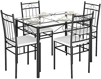 Amazon Com Giantex 5 Pieces Dining Table Set W 4 Chairs