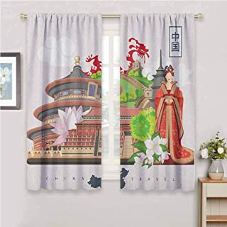 GUUVOR Ancient China Blackout Curtain Set Vintage Style Chinese Attributes of Phoenix Dress Lotus Flower Dragon Palace Kindergarten Shading Insulation W54 x L72 Inch Multicolor