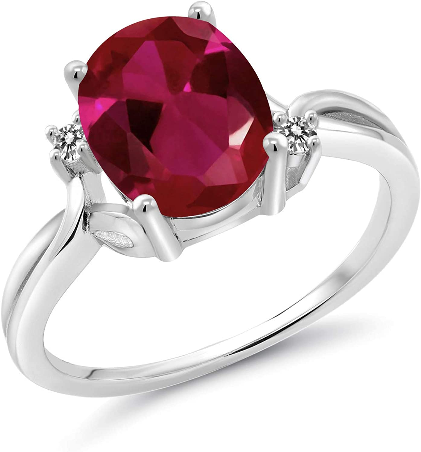 Gem Stone Spasm price King 2.53 Ct Oval Red 925 Ruby Inventory cleanup selling sale White Diamond S Created