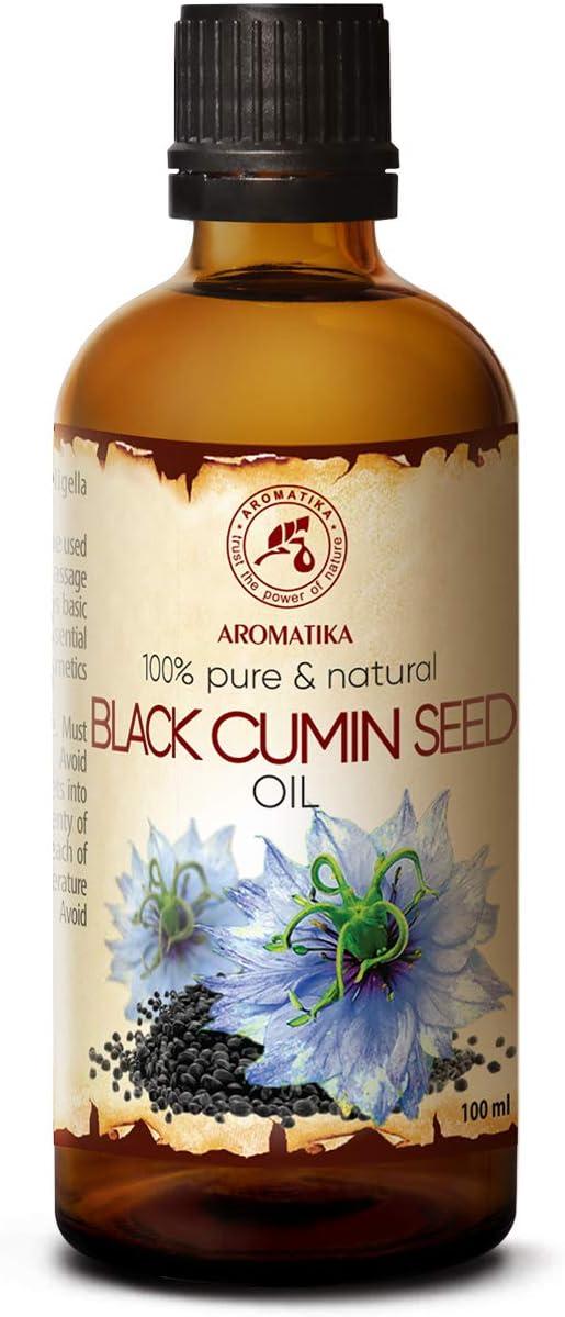 Aceite Comino Negro - 100ml - Nigella Sativa - Oleo Aceite Vegetal de Nigella Sativa - Prensado en Frío - Aceite Base - Aceite Portador - Aceite para la Piel - Cuidado del Cabello