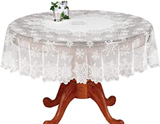 White Floral Lace Banquet Round Tablecloths for Holiday Festival Party Nightmare before Christmas Home Decorations Baby Showers Table Covers for Dinning Room Kitchen Tables, Snowflake, 71 Inch Round