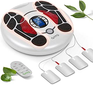 Foot Circulation Stimulator ,EMS Foot Massager Machine Electronic Pulse Acupuncture for Feet Legs Circulation Pain Relief,4 Electrode Gel Pads, Massages and Relaxes Body with Tens Unit