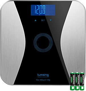 Lumsing Bathroom Body Fat Scale-Digital Body Monitor Analyzer Measuring Weight, BMI, Body Fat, Water, Muscle, Bone, Calorie (Batteries Include)