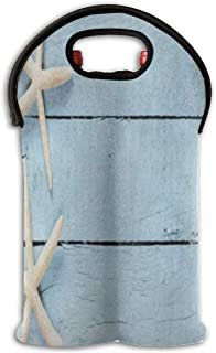 Wine Bag Sea Star Starfish Blue Wooden 2 Bottle Red Wine Tote Bag Protective Champagne Holder Bag