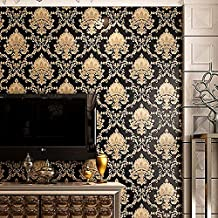papel tapiz autoadhesivo 3d 10mx53cm Black Gold Luxury Embossed Texture Metallic 3d Damask Wallpaper For Wall Roll Washable Vinyl Pvc Wall Paper