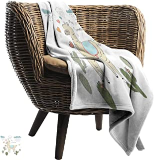 Llama Reversible Blanket Cute Abstract Alpaca in The Rain with Cactuses Brush Strokes Effect Illustration Sofa Chair Multicolor