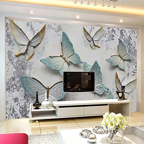 Papel Tapiz Mural Personalizado Papel De Pared De Fondo De Mariposa En Relieve 3D Moderno Para Paredes Sala De Estar Tv Sofá Decoración Del Hogar Fondos De Pantalla,200(W)*140(H)Cm