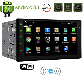 Android 8.1 Car Stereo Head Unit Double 2 Din Car Bluetooth Radio with in Dash Auto Audio Headunit GPS Navigation 7 inch Touch Screen 8 Core Car Tablet Radio Receiver Support 2GB 32GB WiFi Video Out