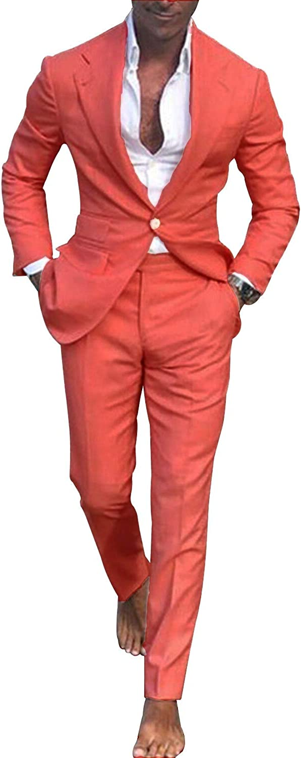 HOTK Men's Suits Slim Fit Solid 2 Piece Notch Lapel Wedding Tuxedos Prom Formal Suits Watermelon Red