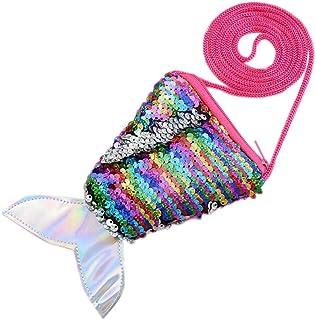 GILIF Women's Shoulder Bags Women's Handbag Wallet Phone Bag Women's Dinner Bag Clutch Bag, Cross-Body Handbags, Mermaid Sequin Coin Purse Lanyard Coin Bag Small Wallet Neon Fishtail