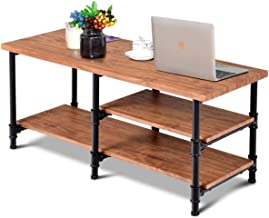 """Giantex 3-Tier Rustic Coffee Table Metal Frame Living Room Furniture Vintage Wood Look Industrial Style TV Sofa Side Table Accent Cocktail Table w/Storage Shelf (40""""(L) x 16""""(W) x 18""""(H))"""