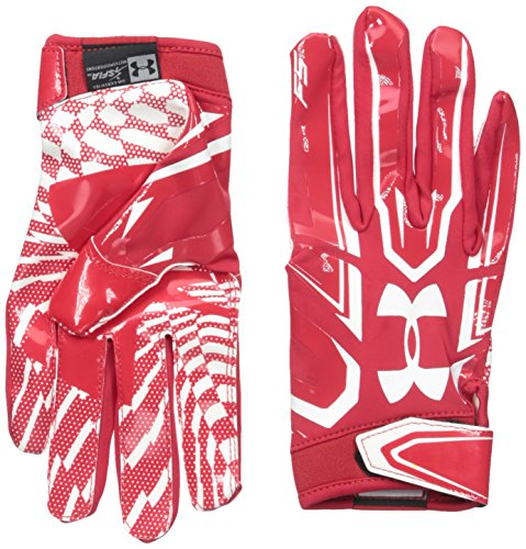 Under Armour Men's F5 Football Receiver Gloves, Red/White, X-Large