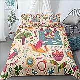 Un cuento de hadas de cama de la cubierta del Duvet floral 3D para niños niñas de belleza Impreso de cama cubierta del edredón con la cremallera Ligero microfibra Decoración,E,140x210cm