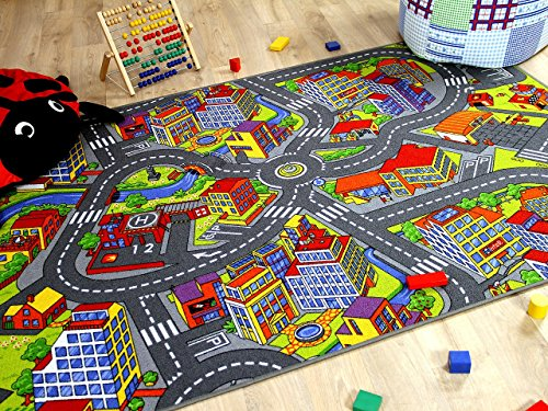 Snapstyle Alfombra Infantil Carretera de Little Town 3D - Gris - 17...