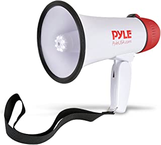 Pyle Megaphone Speaker PA Bullhorn - Built-in Siren & LED Lights - 30 Watts & Adjustable Vol. Control - for Football Soccer, Baseball Basketball Cheerleading Fans Coaches & Safety Drills (PMP37LED)