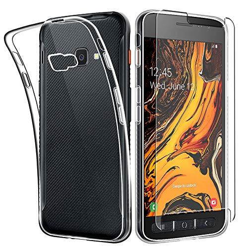 SDTEK Funda para Samsung Galaxy XCover 4s Cubierta Transparente Gel De Protección Full Body 360 con Protector Pantalla De Vidrio Templado