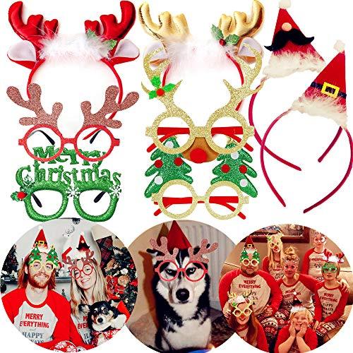JeVenis 8 PCS Christmas Deer Headband Christmas Hats Christmas GlassesSanta Claus Cap Christmas Photo Booth Props Christmas Party Supplies Christmas Party Favors