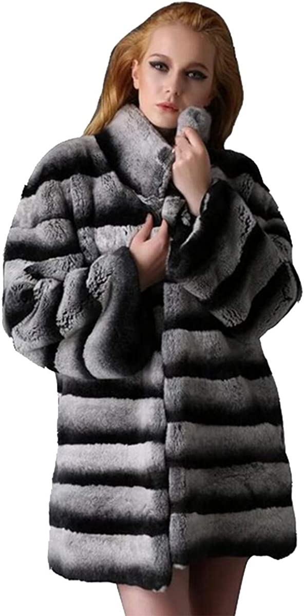YR.Lover Women's Real Chinchilla Rex Rabbit Fur Coat Long Sleeve
