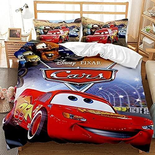 Car Story - Juego de funda de edredón, diseño de Rayo McQueen con anime, funda nórdica infantil, ligera (3,135 x 200 cm + 50 x 75 cm x 2)