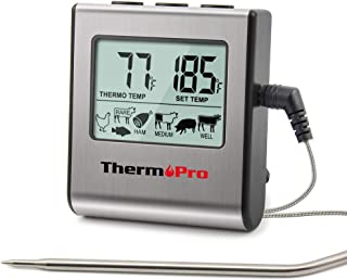 ThermoPro TP-16 Large LCD Digital Cooking Food Meat Smoker Oven Kitchen BBQ Grill Thermometer Clock Timer with Stainless S...