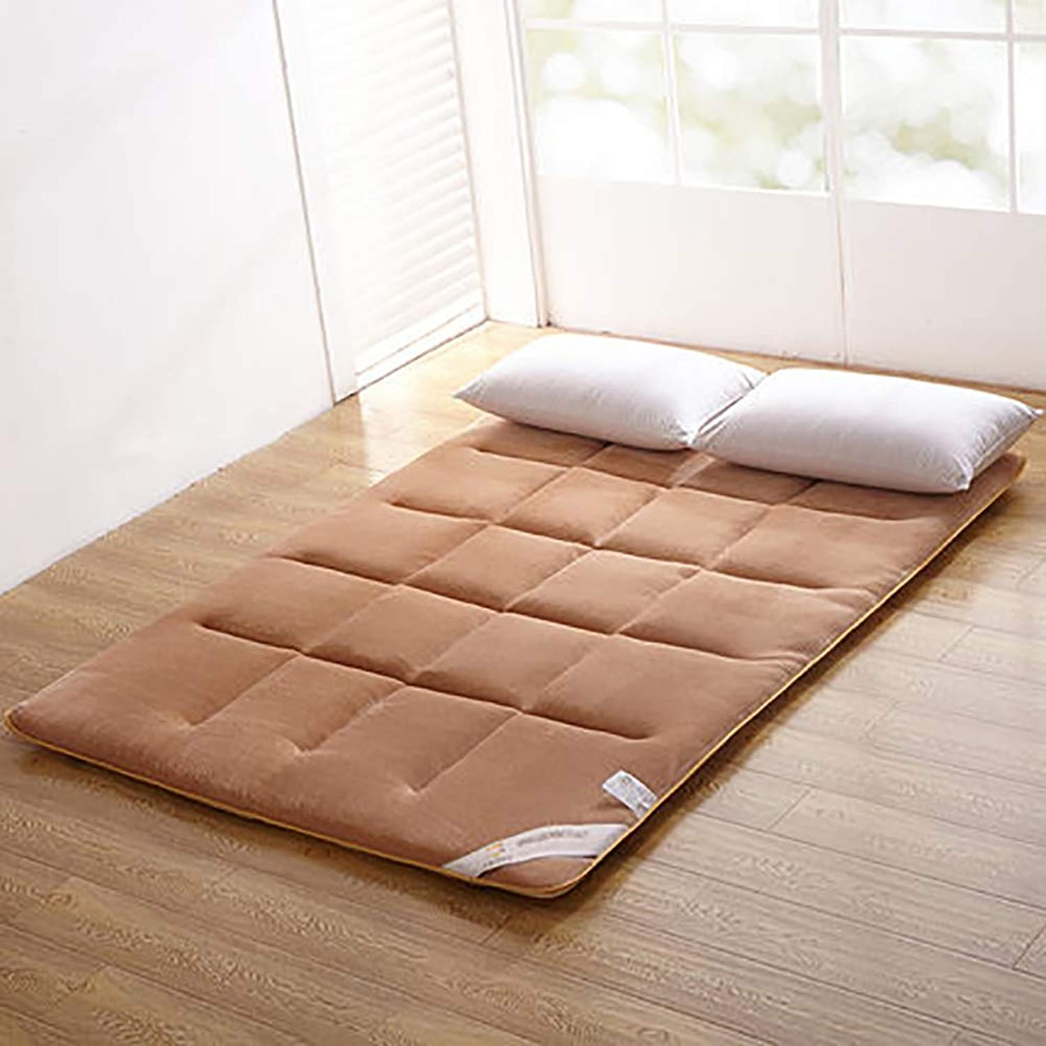 Non-Slip Mattress Pads,Tatami Mattress,Flannel Solid color Foldable Warm Winter Breathable Quilted Mattress-Light tan 150x200cm(59x79inch)