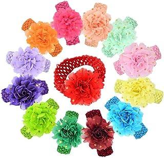 Ewanda store 10 Pcs Baby Girls Headbands Chiffon Flower Elastic Knit Hair Band Baby Hair Accessories for Newborn Toddler I...