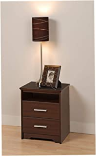 Wood & Style Coal Harbor 2 Drawer Tall Nightstand with Open Shelf, Espresso Comfy Living Home Décor Furniture Heavy Duty