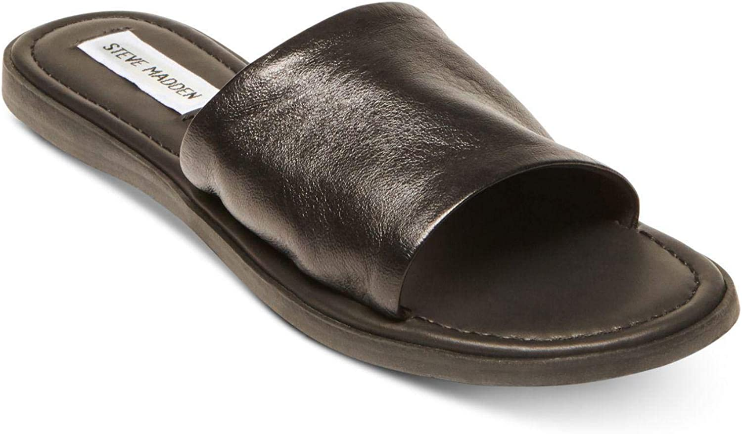 Steve Madden Womens Camilla Leather Open Toe Casual Slide Sandals