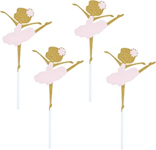 24 Pack of Assembled Pink and Glitter Gold Ballerina Cupcake Toppers Ballerina Dancing Girl Cupcake Toppers for Birthday Party Baby Shower Wedding Bridal Shower Birthday Party Decoration Cake Topper