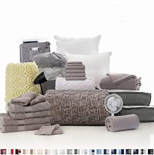 OCM College Dorm Room 27-Piece Varsity Collection | Twin XL Bedding with Topper, Comforter, Towels, Storage and More | Callum Gray | Washed Gray, Geometric Stitching, Striped & Solid Gray Sheets