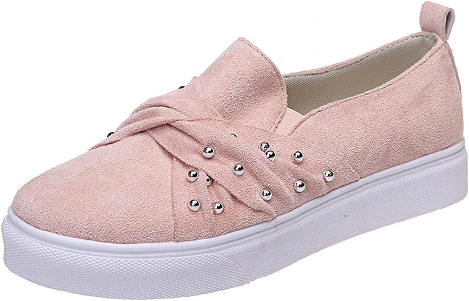 Women's Suede Ranking TOP10 Slip-Ons Round Toe Deco Mouth Pearl Shallow outlet Loafer