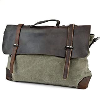 Leather Bag Mens Retro Fashion Leather Army Green Large Capacity Canvas Men's Shoulder Bag Travel Leisure High Capacity (Color : Grey, Size : S)