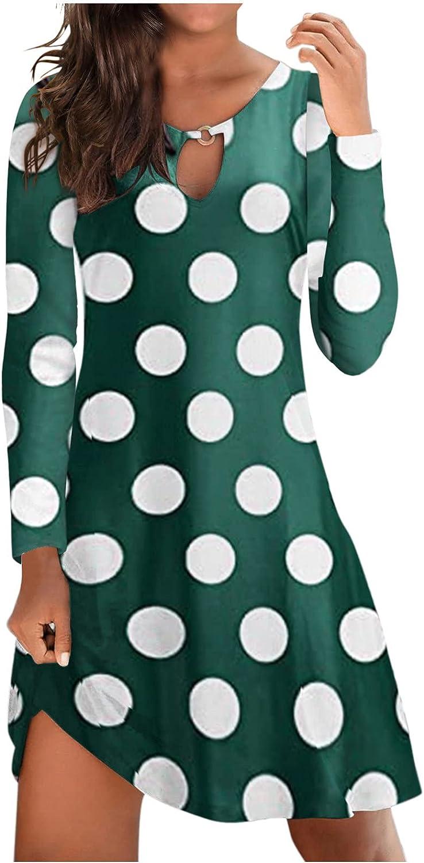Women Long Sleeve Round Neck Pure Color Plain Tunic Shift Dress Jumper Skirt Casual Fashion