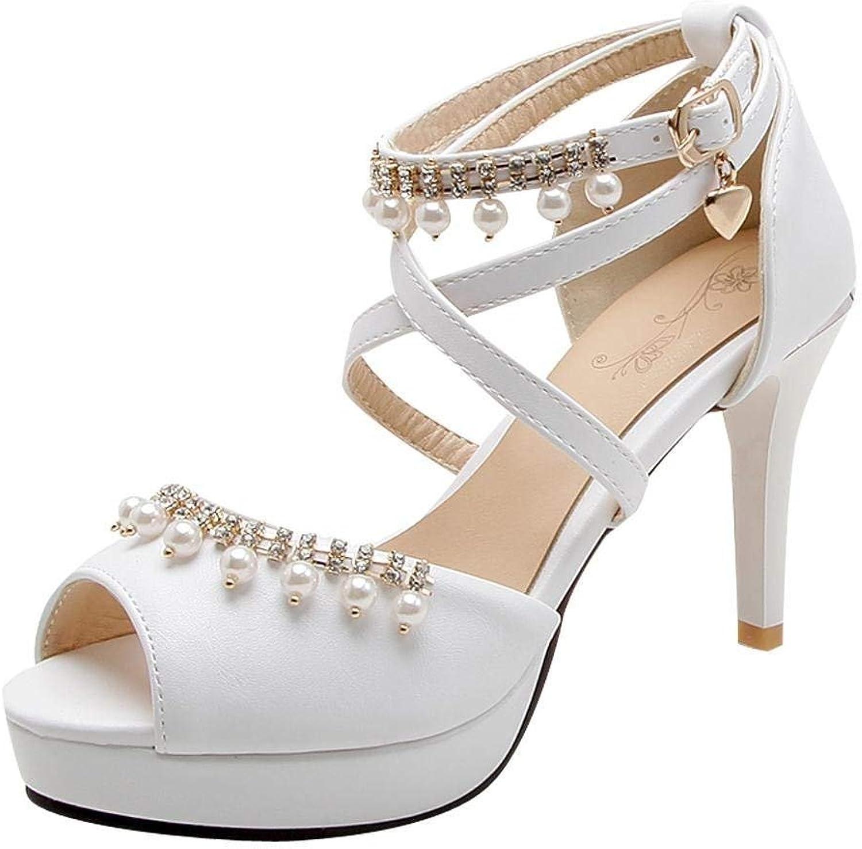 Vitalo Women's Cross Strap Sandals with Ankle Strap Platform High Heel Pumps Peep Toe Ladies Court shoes