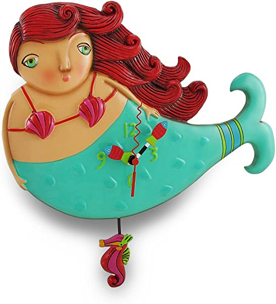 Allen Designs Ruby Whimsical Mermaid Pendulum Wall Clock
