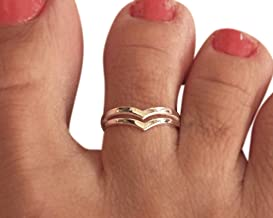 Sterling Silver Chevron V Double Band Toe Ring Knuckle Ring, Handmade Small Dainty Double Band Ring