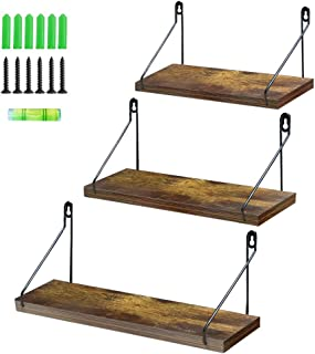 Amazing Roo Floating Shelves Wall Mounted Set of 3, Wood Wall Shelves with Black Metal Brackets, Storage Rack for Living Room/Kitchen/Bathroom/Bedroom/Office
