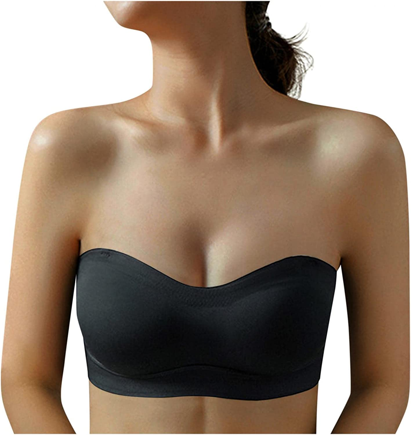 iQKA Women Crop Top Seamless Bandeau Tube Tops Bra Strapless Padded Bralette Trackless Latex Invisible Underwear