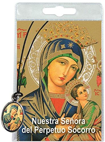 Ferrari & Arrighetti Medalla Virgen del Perpetuo Socorro con cordón y oración en español