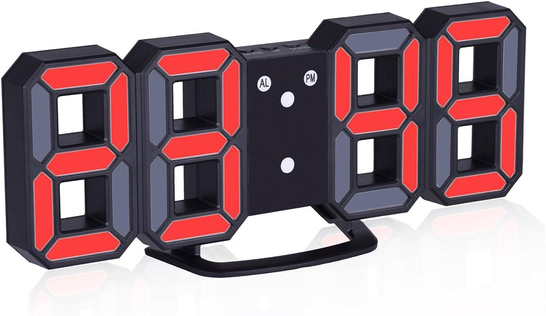 Wanduhr, EVILTO 3D LED Digital Wanduhr LED Wand Uhr mit Snooze Funktion Drei Einstellbare Helligkeit (Schwarz-Rot)