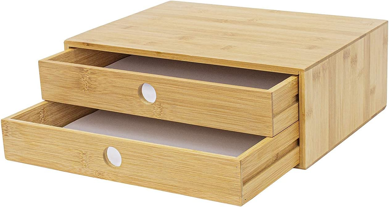 FAMIKITO 2-Tier Bamboo Desktop Organizer, Desktop A4 Paper Size Drawers Organizer, Wooden Tabletop Storage Organization Box for Office and Home