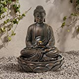 "John Timberland Meditating 27 1/2"" High Bronze Seated Buddha Fountain"