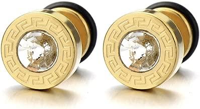 8-10MM Steel Mens Gold Stud Earrings Screw Back with Greek Key Pattern and 4mm Cz, 2pcs