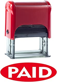 PAID Oval Reversed Self Inking Rubber Stamp (Red Ink) Medium