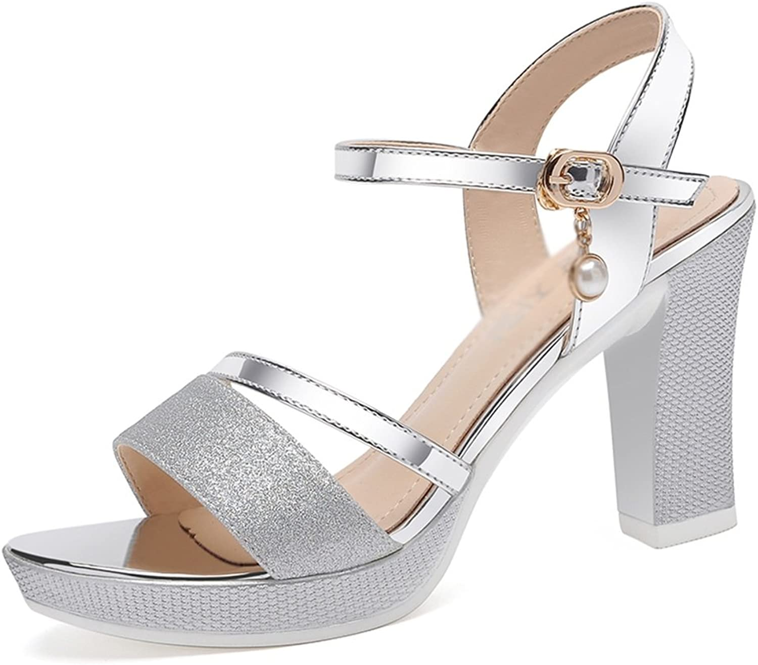 Sandals Lady shoes Mid Heel Silver gold Sandals Rough with Summer (color   Silver, Size   EU35 UK3 CN34)